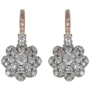 18K Rose Gold 0.59ct Round Diamond Latch Earrings