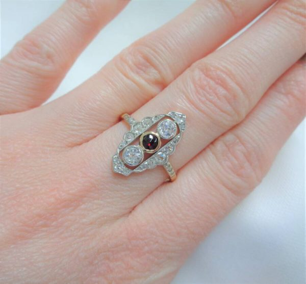 Diamond and Garnet Panel Ring