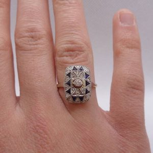Antique C.1930's Diamond and Sapphire Ring 750 (18ct) Yellow Gold