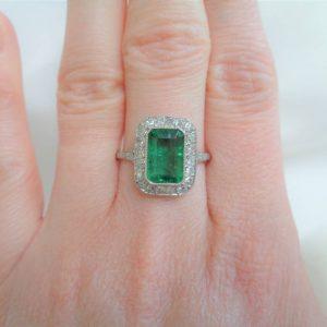Art Deco Style Large 1.46ct Emerald and Diamond Ring 950 Platinum