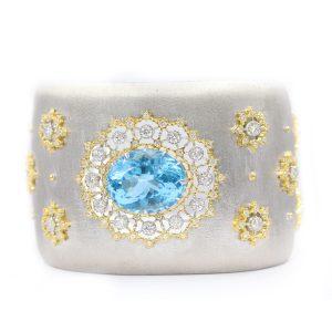 Elegant Fashion Diamond and Blue Topaz Bangle from Madaame