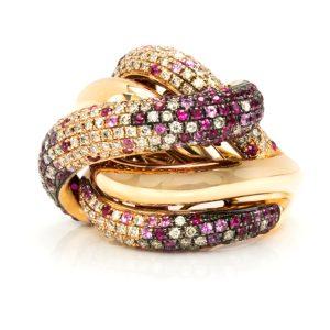 18kt Yellow Gold Criss Cross Diamond Ring