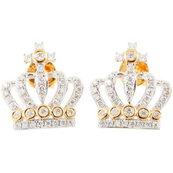 Yellow gold 18Kt cross crown diamond earrings