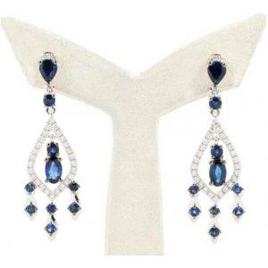 Diasap Drop Diamond Sapphire Earrings
