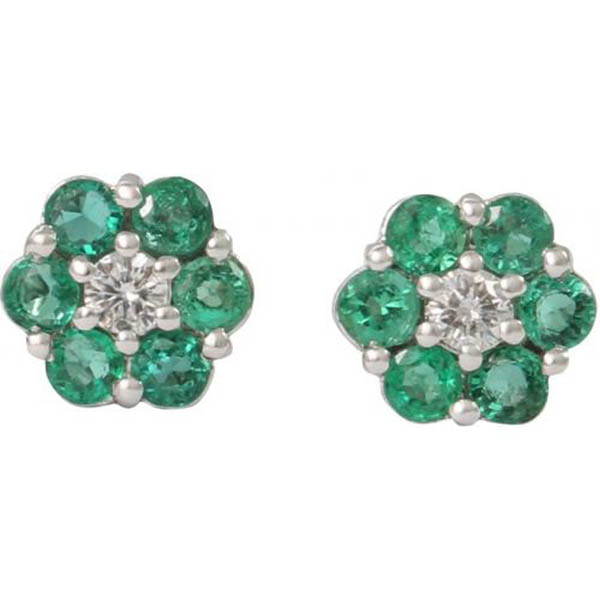18 kt white gold emerald and diamond earring