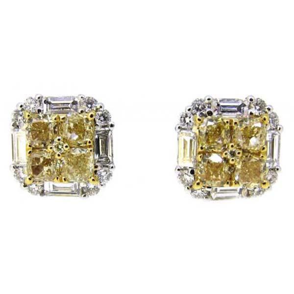 18 carats fancy yellow earrings studs