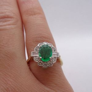 Fine Emerald and Diamond Cluster Ring 750 (18ct) Yellow Gold