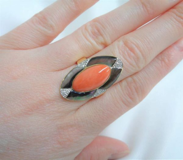 Fine Large Coral, Abalone and Diamond Panel Ring