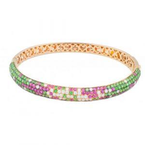 Multi gem rose gold 18 carat diamond bangle from Madaame