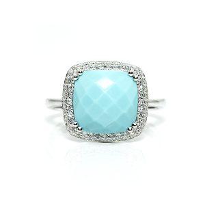 Turquoise Diamond Engagement Ring