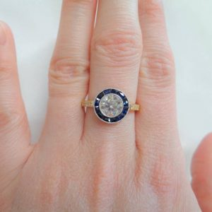 Vintage French 1.10ct Diamond & Sapphire Ring 750 (18ct) Gold