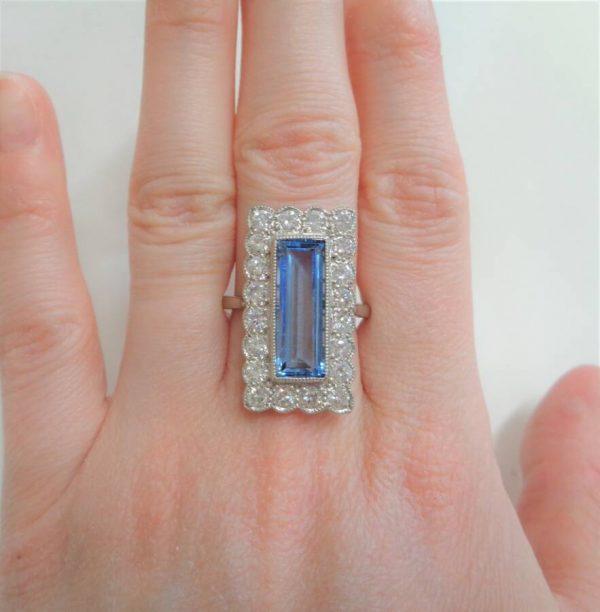 Vintage Large Aquamarine and Diamond Panel Platinum Ring