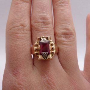Vintage Ruby and Diamond Ring 750 (18ct) Rose Gold