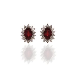 Delicate but fashionable rose ruby earrings with diamonds